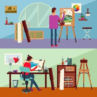 Art studio horizontale banners