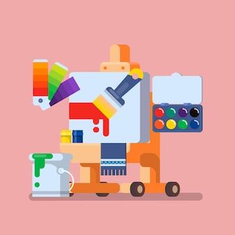 Art studio illustration set hulpmiddelen en materialen voor creativiteit en schilderen