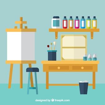 Art studio, vlakke stijl