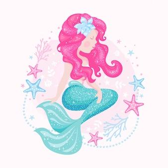 Art zeemeermin met parels. mode illustratie tekenen in moderne stijl. prachtige zeemeermin.