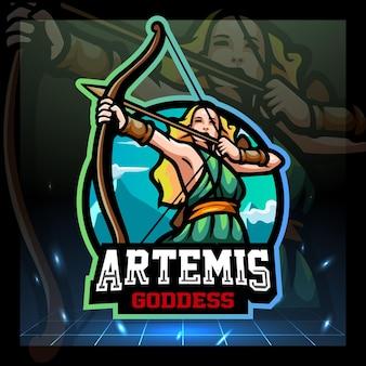 Artemis godin mascotte esport logo ontwerp