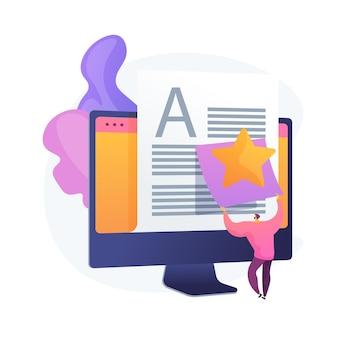 Artikel evaluatie, redactie. internetbloggen, contentbeheer, zoekmachineoptimalisatie. seo-marketing, ontwerpelement voor copywriting-ideeën.