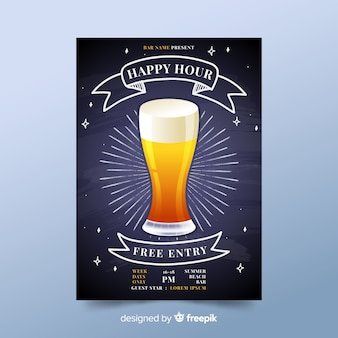 Artistiek happy hour posterontwerp