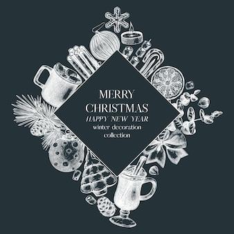 Artistiek kerstkransontwerp op schoolbord wintervakantieframe