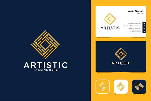 Artistiek luxe vierkant logo-ontwerp en visitekaartje