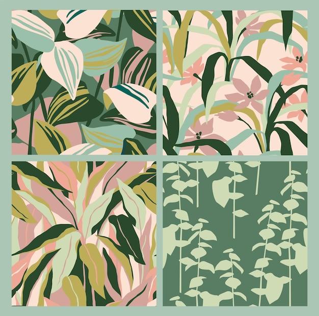 Artistiek naadloos patroon met abstracte bladeren. modern design voor papier, omslag, stof, interieur en andere gebruikers.