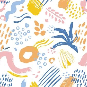 Artistiek naadloos patroon met kleurrijke verfvlekken, merken en sporen