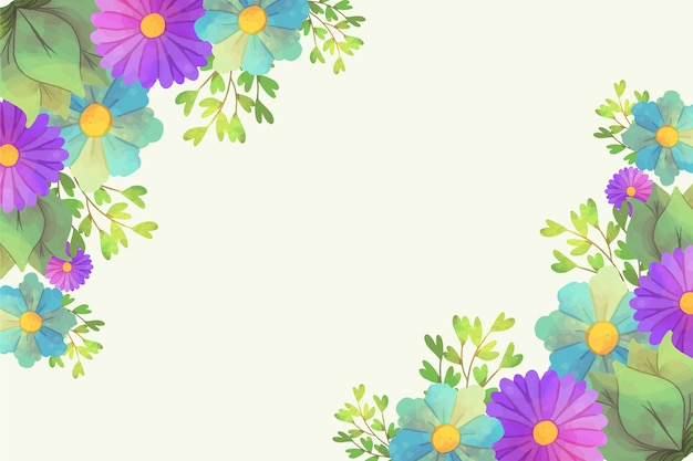 Artistieke aquarel bloemen achtergrondontwerp