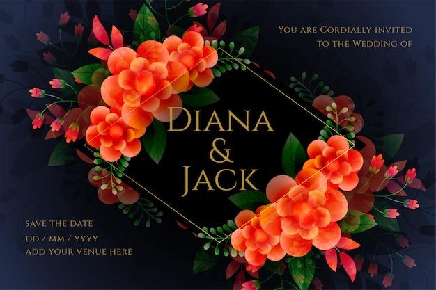 Artistieke bloemen bruiloft kaart in donkere thema
