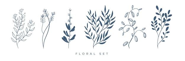 Artistieke bloemen en bladerenelementen.