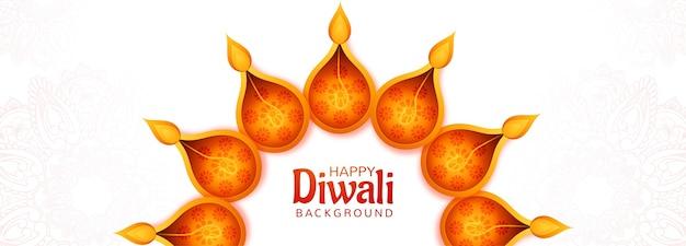 Artistieke decoratieve diwali diya creatieve kaart banner achtergrond