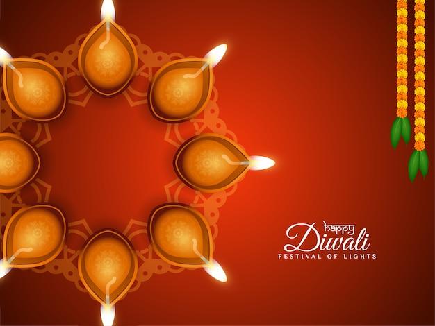 Artistieke decoratieve gelukkige diwali-festivalachtergrond met lampen