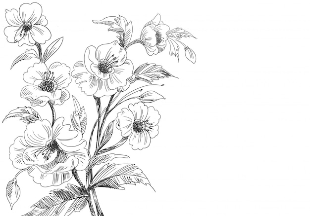 Artistieke decoratieve schets bloemenachtergrond