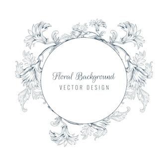 Artistieke decoratieve schets floral frame achtergrond