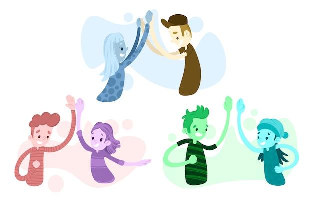 Artistieke illustratie met mensen die hoogte vijf geven