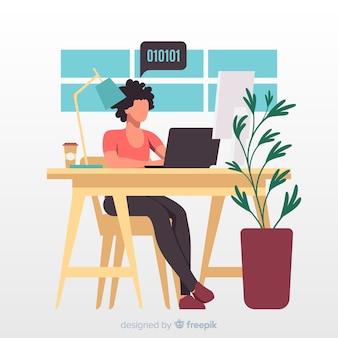 Artistieke illustratie met programmeur die op kantoor werkt