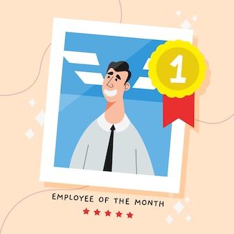 Artistieke illustratie met werknemer van de maand