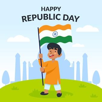Artistieke indische republiek dag plat ontwerp