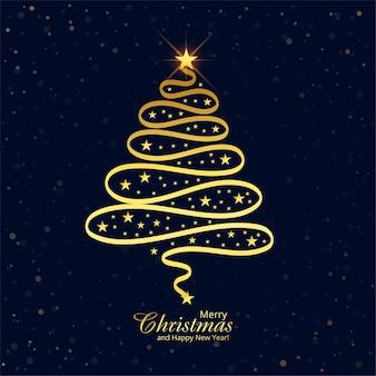 Artistieke kerst lijn gouden boom kaart ontwerp