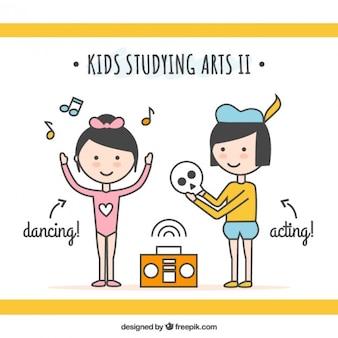 Artistieke kinderen in lineaire stijl