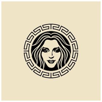 Artistieke mooie vrouw gezichtshaar voor cosmetische spa salonbeauty huidverzorging logo ontwerp