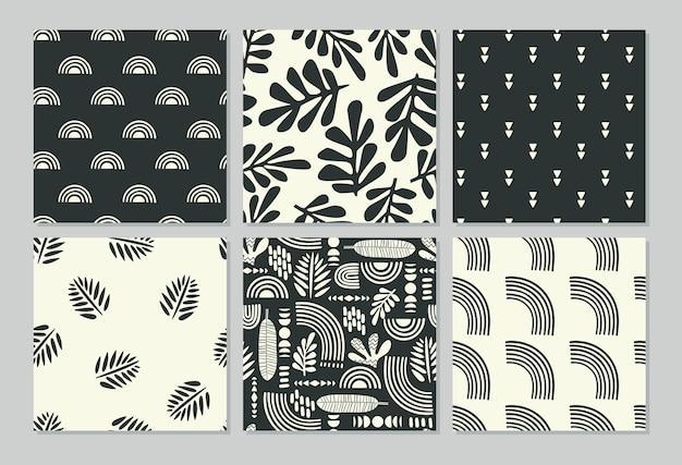 Artistieke naadloze patronen met abstracte bladeren en geometrische vormen.