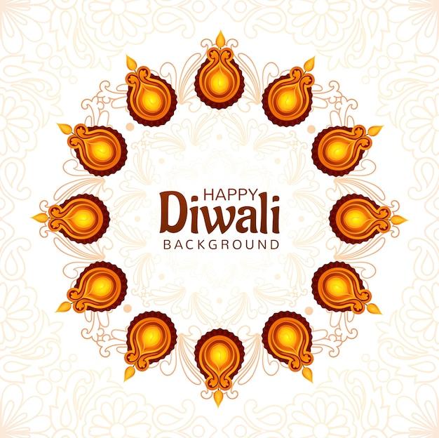 Artistieke religieuze gelukkige diwali festival kaart achtergrond