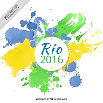Artistieke rio olympische spelen van 2016 achtergrond met verfvlekken