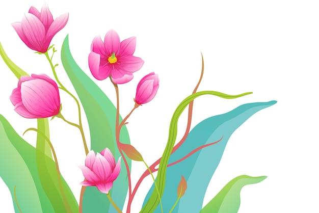 Artistieke rozen of magnolia gedetailleerd ontwerp.