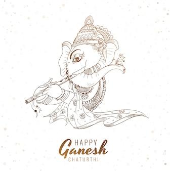 Artistieke schets ganesh chaturthi festival kaart achtergrond