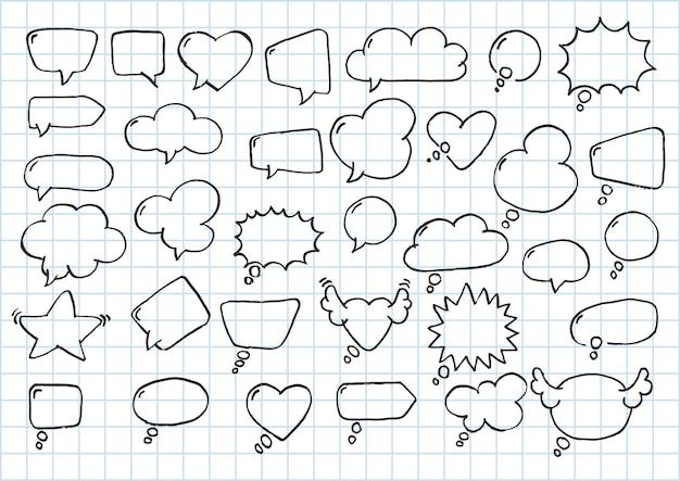 Artistieke verzameling van hand getrokken doodle stijl komische ballon