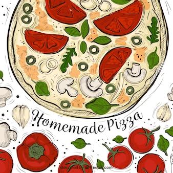 Artistieke water kleur pizza achtergrond