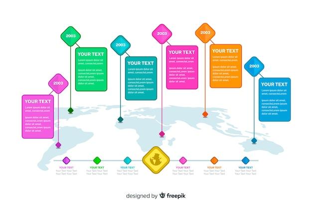 Artistieke wereld kaart infographic sjabloon