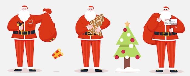 Artoon kerstman met cadeautjes
