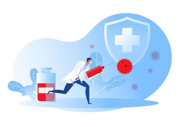 Arts bedrijf injecteren met spuit met een vaccin fles bescherming schild en virus. medische behandeling.
