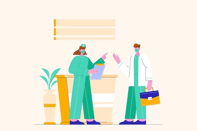 Arts bespreken met verpleegkundige illustratie
