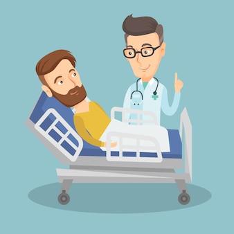 Arts bezoekende patiënt vectorillustratie.