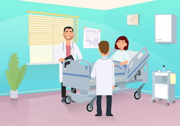 Arts bezoekt een patiënt in een ziekenhuiskamer.