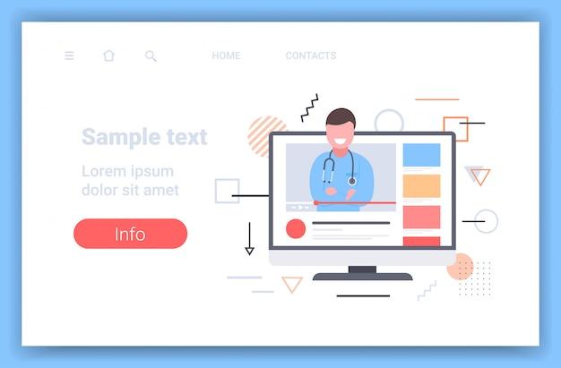 Arts blogger die informatie geeft over geneeskunde online medische raadpleging hulp door internet gezondheidszorg concept beeldscherm video speler horizontaal