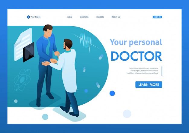 Arts communiceert met de patiënt. gezondheidszorg 3d isometrisch.