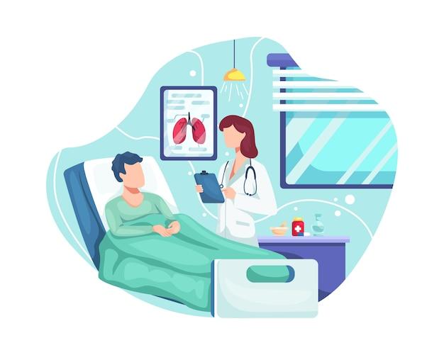Arts controleert de gezondheidstoestand van de patiënt