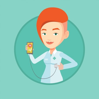 Arts die app toont voor het meten van hartpuls.