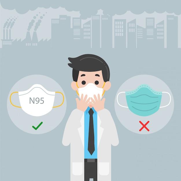 Arts die beschermende gezichtsmaskers draagt medische gezondheidszorg