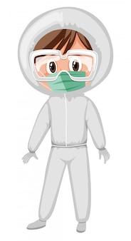 Arts die beschermingspak en medisch masker draagt