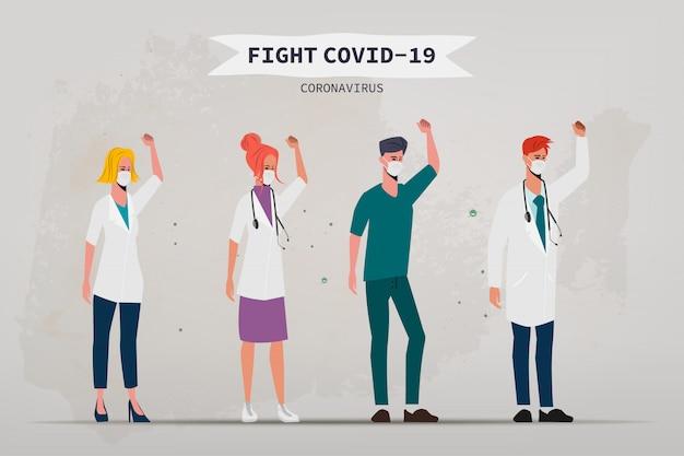 Arts die de patiënt redt van een uitbraak van het coronavirus.