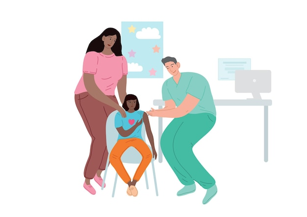 Arts die de patiënt vaccineert. een vrouw met een kind op een doktersafspraak. Premium Vector