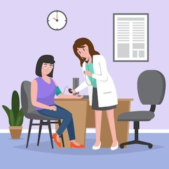 Arts die een geïllustreerde patiënt onderzoekt