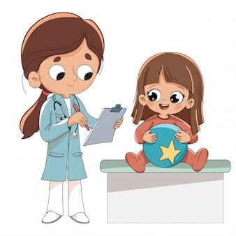 Arts die een jongen onderzoekt. kinderarts