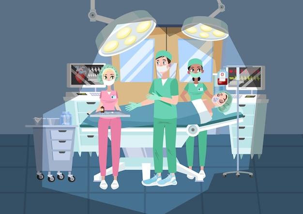 Arts die een operatie in het ziekenhuis maakt. chirurg