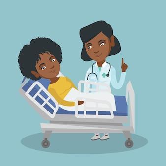 Arts die een patiënt in een het ziekenhuisruimte bezoekt.